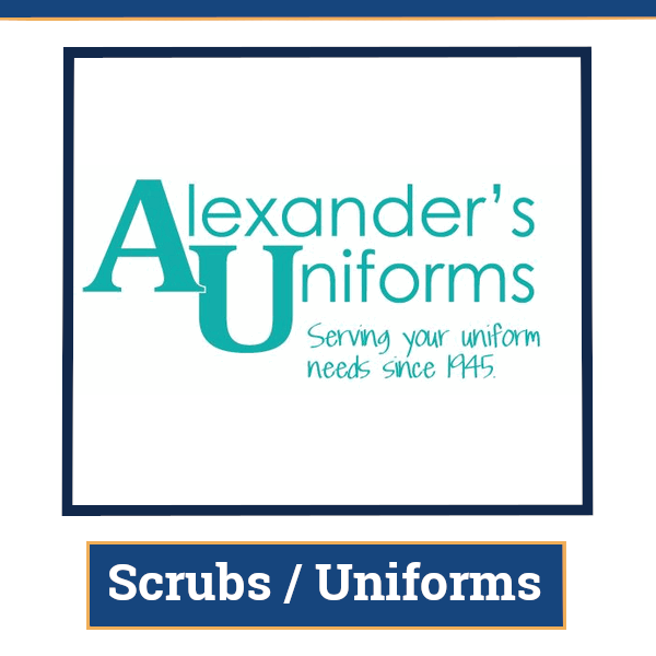 alexanders uniforms link to buy scrubs and other uniforms to buy through N E I T